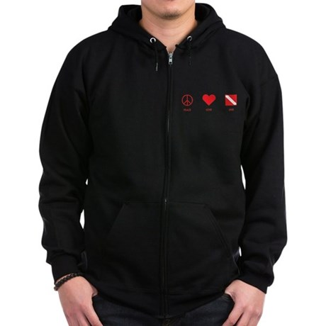 Peace Love Dive Zip Hoodie (dark)