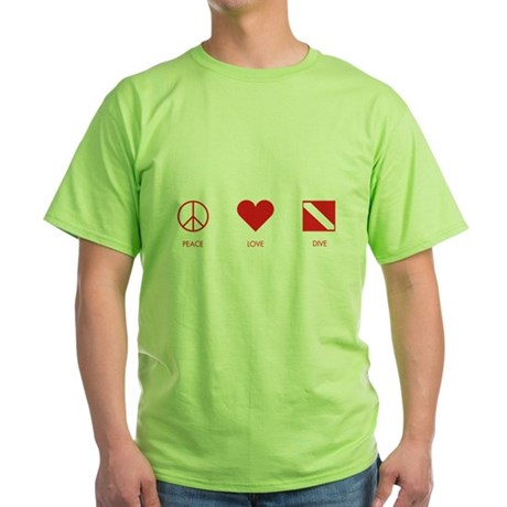 Peace Love Dive Green T-Shirt