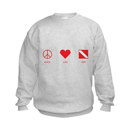 Peace Love Dive Kids Sweatshirt