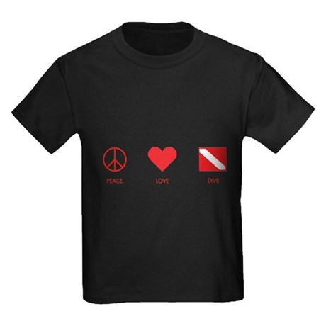 Peace Love Dive Kids Dark T-Shirt