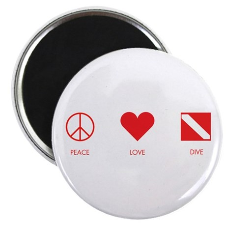 "Peace Love Dive 2.25"" Magnet (10 pack)"