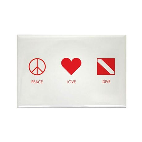 Peace Love Dive Rectangle Magnet (10 pack)