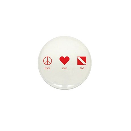 Peace Love Dive Mini Button