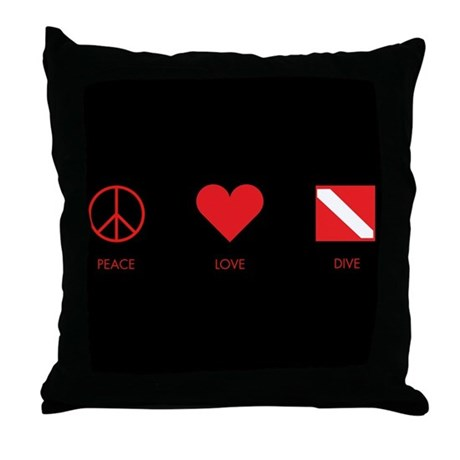 Peace Love Dive Throw Pillow