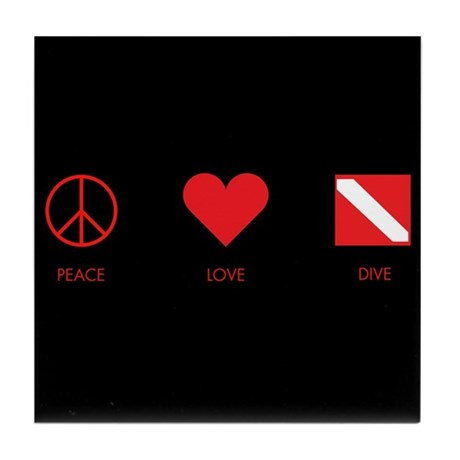 Peace Love Dive Tile Coaster