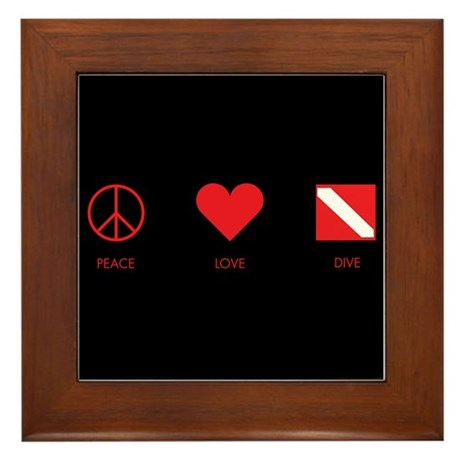Peace Love Dive Framed Tile