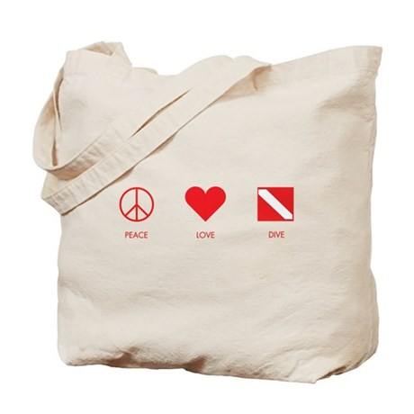 Peace Love Dive Tote Bag
