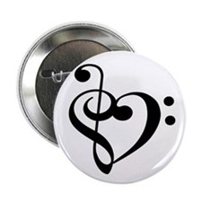 "Treble Bass Clef Heart 2.25"" Button"