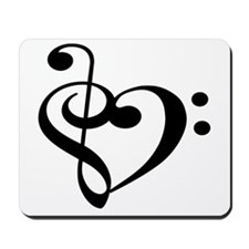 Treble Bass Clef Heart Mousepad