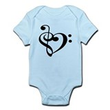Treble Bass Clef Heart Onesie