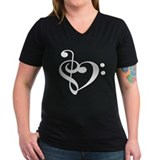 Treble Bass Clef Heart Shirt