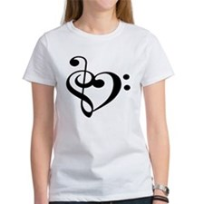 Treble Bass Clef Heart Tee