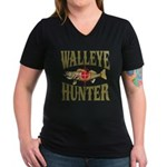 Walleye Hunter Women's V-Neck Dark T-Shirt