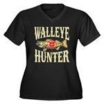 Walleye Hunter Women's Plus Size V-Neck Dark T-Shi