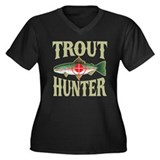Trout Hunter Women's Plus Size V-Neck Dark T-Shirt