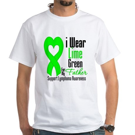 Lymphoma Heart Father White T-Shirt