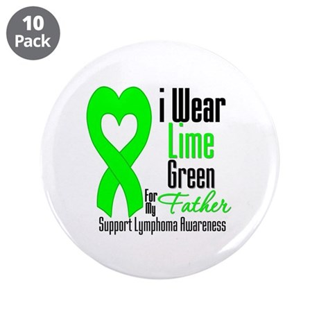 "Lymphoma Heart Father 3.5"" Button (10 pack)"