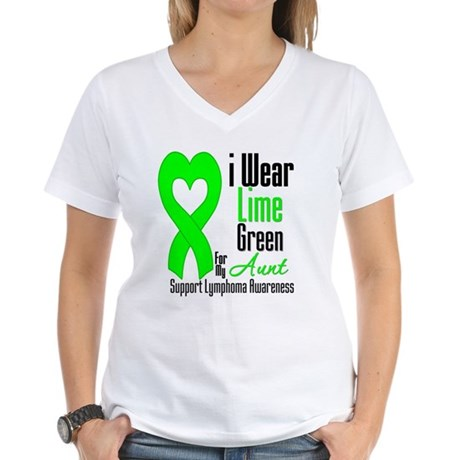 Lymphoma Heart Aunt Women's V-Neck T-Shirt