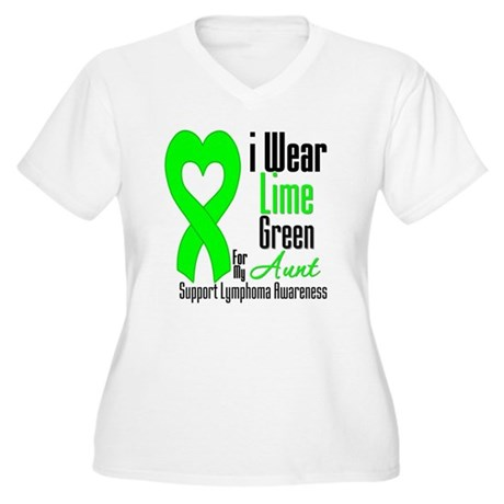 Lymphoma Heart Aunt Women's Plus Size V-Neck T-Shi