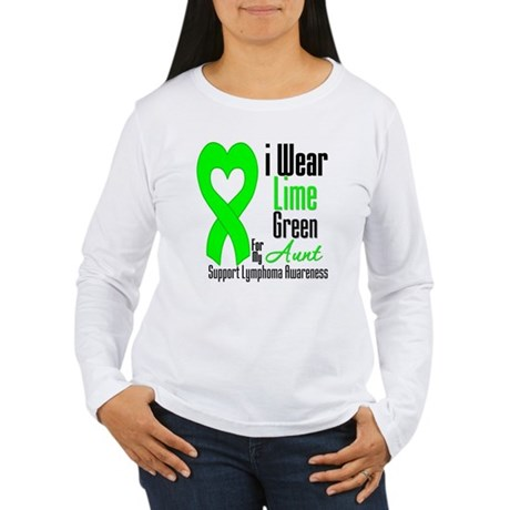 Lymphoma Heart Aunt Women's Long Sleeve T-Shirt