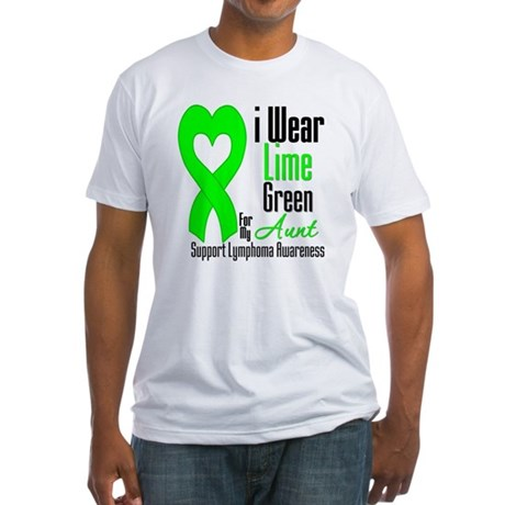 Lymphoma Heart Aunt Fitted T-Shirt