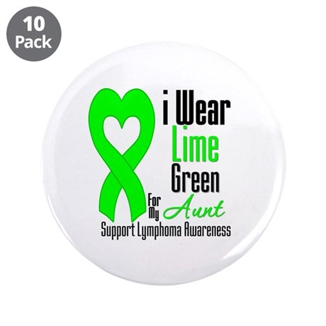"Lymphoma Heart Aunt 3.5"" Button (10 pack)"