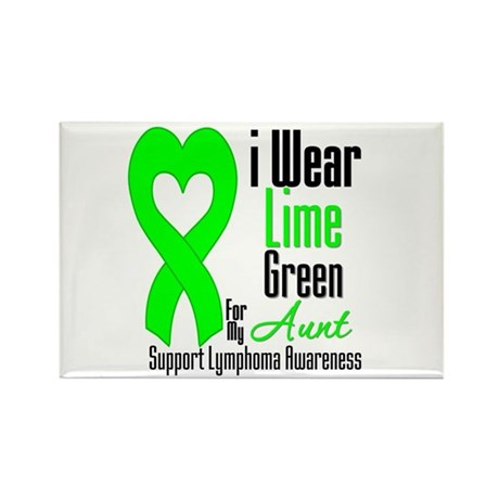 Lymphoma Heart Aunt Rectangle Magnet (10 pack)