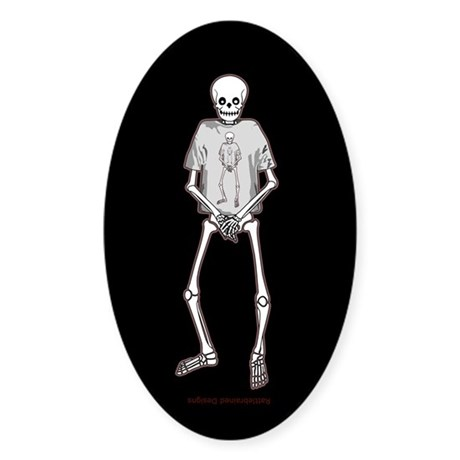 T-Shirt Skeleton Sticker (Oval)