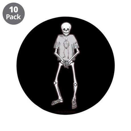 "T-Shirt Skeleton 3.5"" Button (10 pack)"