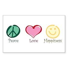 Peace Love Happiness Rectangle Sticker 50 pk)