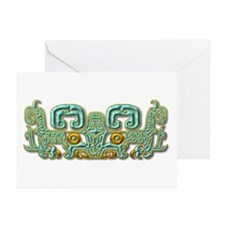 Mayan Jaguar-turquoise Greeting Cards (Pk of 10)