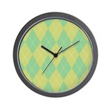 Green &amp; Yellow Argyle Wall Clock