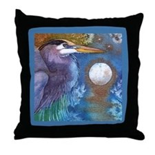 Blue Heron and Bronze Moon Throw Pillow