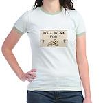 WILL WORK FOR PIZZA Jr. Ringer T-Shirt