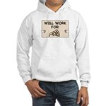 WILL WORK FOR PIZZA Hooded Sweatshirt