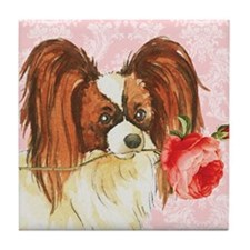Papillon Rose Tile Coaster