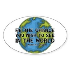 Gandhi - Earth - Change Oval Stickers