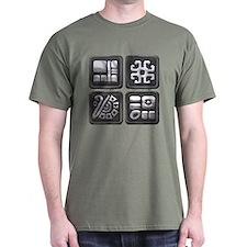 Mayan Glyphs-black & silver T-Shirt