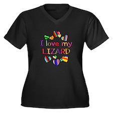 Lizard Women's Plus Size V-Neck Dark T-Shirt
