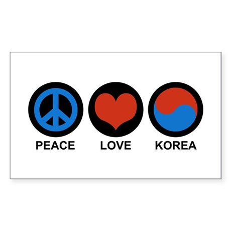Peace Love Korea Rectangle Sticker