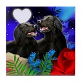 FLAT COATED RETRIEVER DOGS LOVE Tile Coaster