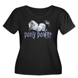 Jumping Pony Women's Plus Size Scoop Neck Dark T-S