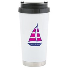 Pink Stripes Sailboat , Ceramic Travel Mug