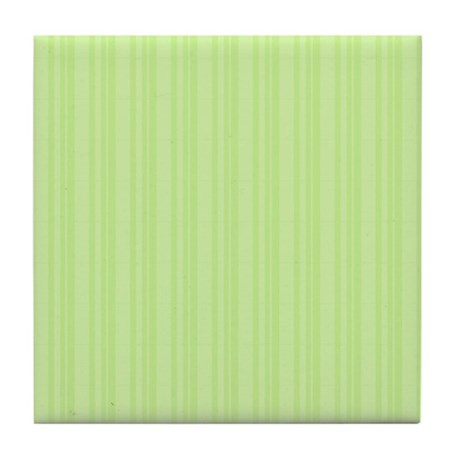 Lime Green Stripes Tile Coaster