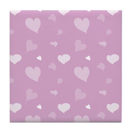 Pink Hearts Tile Coaster