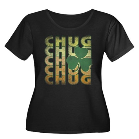 Irish Chug Womens Plus Size Scoop Neck Dark T-Shi