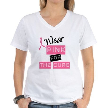 I Wear Pink For The Cure Women's V-Neck T-Shirt