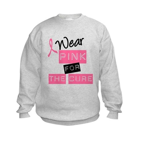 I Wear Pink For The Cure Kids Sweatshirt
