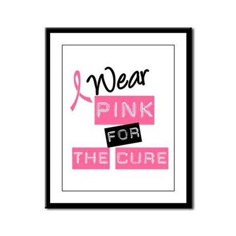 I Wear Pink For The Cure Framed Panel Print