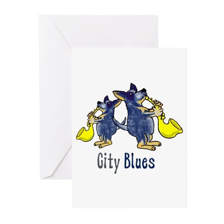 city blues blue heelers Greeting Cards